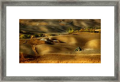 Preparation For Sowing - Volterra (pi) - Toscana - Italy Framed Print by Antonio Grambone