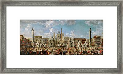 Preparation Of The Festivities At Piazza Navona Framed Print by Celestial Images