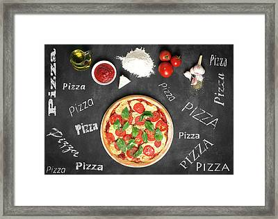 Prepared Pizza And Its Ingredients  Framed Print