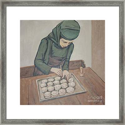 Framed Print featuring the painting Preparing Communion Bread by Olimpia - Hinamatsuri Barbu