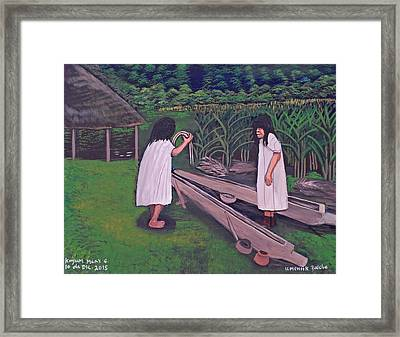 Preparing For The Balche Ceremony Framed Print