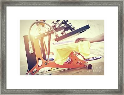 Preparing T-shirt For Printing In The Silk Screen Printing Machine Framed Print by Michal Bednarek