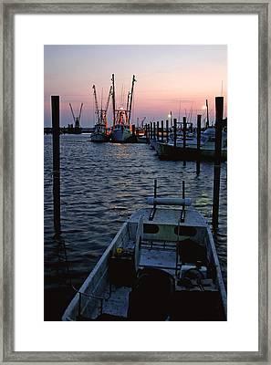 Preparing The Boats Chincoteague Island Virginia Framed Print by Brian M Lumley