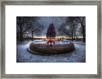 Prescott Park Christmas Tree Framed Print by Eric Gendron