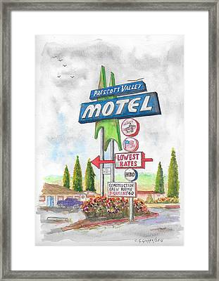 Prescott Valley Motel In Prescott, Arizona Framed Print by Carlos G Groppa