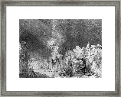 Presentation In The Temple Framed Print by Rembrandt