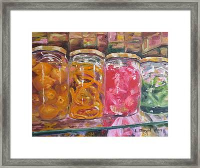 Preserves Spanish Market Framed Print by Lisa Boyd