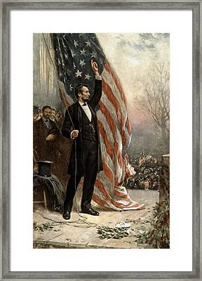 Framed Print featuring the photograph President Abraham Lincoln - American Flag by International  Images