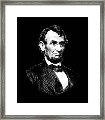 President Abraham Lincoln Graphic - Black And White Framed Print by War Is Hell Store