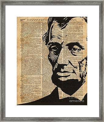 President Abraham Lincoln Historical Vintage Dictionary Art Framed Print by Jacob Kuch