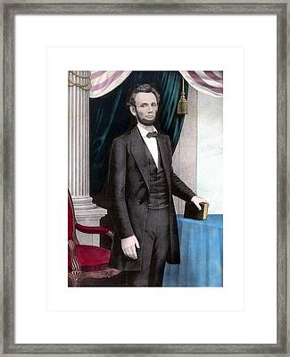 President Abraham Lincoln In Color Framed Print by War Is Hell Store