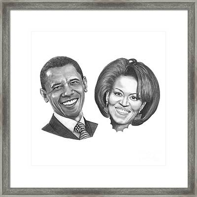 President And First Lady Obama Framed Print by Murphy Elliott
