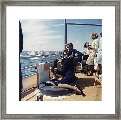 President And Jacqueline Kennedy Watch Framed Print