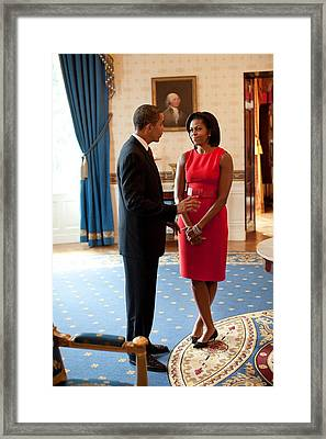President And Michelle Obama Talk Framed Print by Everett