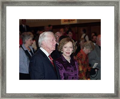 Framed Print featuring the photograph President And Mrs. Jimmy Carter Nobel Celebration by Jerry Battle