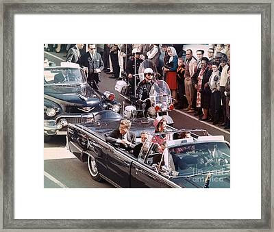 President And Mrs Kennedy In Dallas, Texas. Framed Print by The Titanic Project