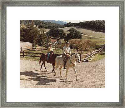 President And Nancy Reagan Horseback Framed Print by Everett
