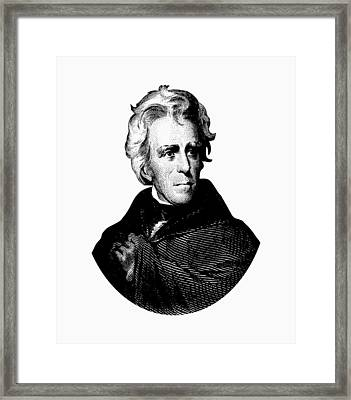 President Andrew Jackson Graphic Black And White Framed Print by War Is Hell Store