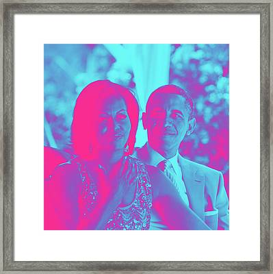 President Barack Obama And The First Lady Michelle Obama Framed Print