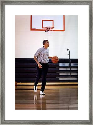 President Barack Obama Dribbles Framed Print
