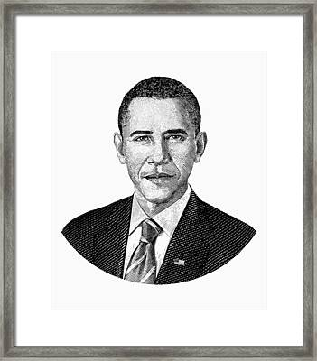 President Barack Obama Graphic Black And White Framed Print by War Is Hell Store
