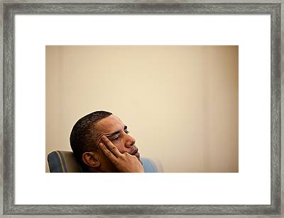 President Barack Obama Listening Framed Print