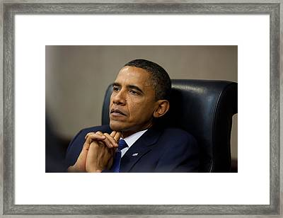 President Barack Obama Reflects Framed Print
