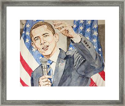 President Barack Obama Speaking Framed Print