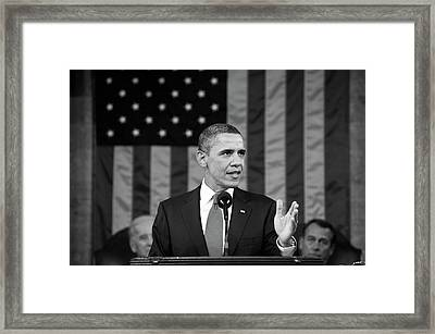 President Barack Obama - State Of The Union Address Framed Print