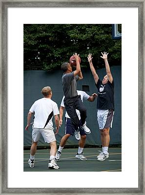 President Barack Obama Takes A Shot Framed Print