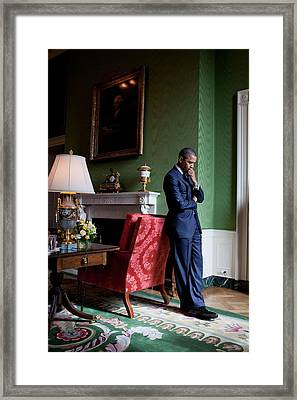 President Barack Obama Waits Framed Print
