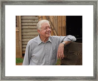 President Carter At His Boyhood Farm Framed Print by Jerry Battle