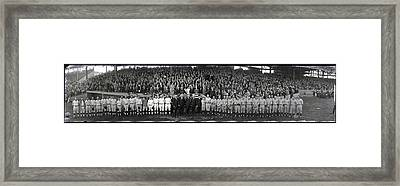 President Coolidge And The Washington A.l. And New York N.l. World's Series Baseball Teams Framed Print by Panoramic Images