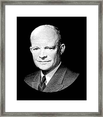 President Dwight Eisenhower Graphic - Black And White Framed Print by War Is Hell Store