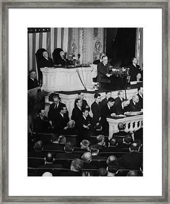 President Franklin D. Roosevelt Top Framed Print by Everett
