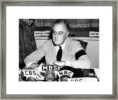 President Franklin Roosevelt Warns Framed Print