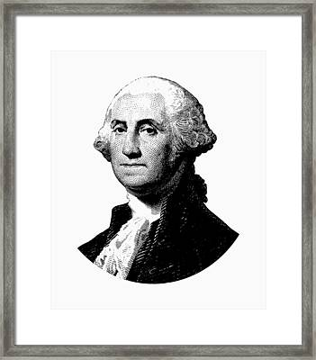 President George Washington Graphic - Black And White Framed Print by War Is Hell Store