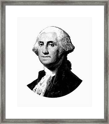 President George Washington Graphic - Black And White Framed Print