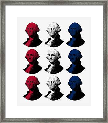 President George Washington - Red, White, And Blue  Framed Print by War Is Hell Store