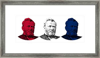 President Grant Red White And Blue Framed Print by War Is Hell Store