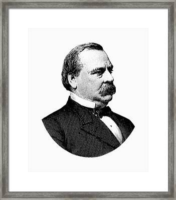 President Grover Cleveland - Black And White Framed Print by War Is Hell Store