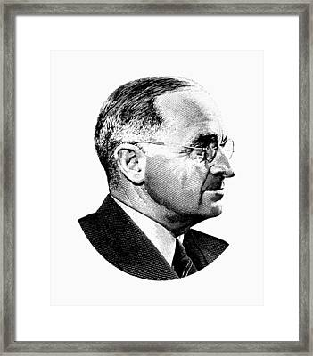 President Harry Truman Profile Portrait - Black And White Framed Print by War Is Hell Store