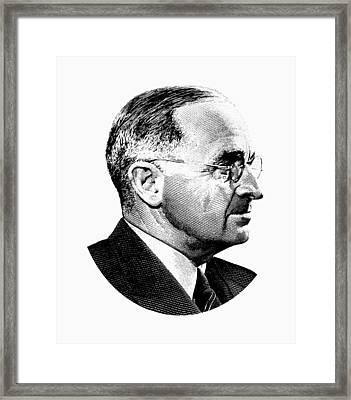 President Harry Truman Profile Portrait - Black And White Framed Print
