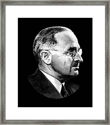 President Harry Truman Profile Portrait Framed Print by War Is Hell Store