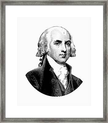 President James Madison Graphic Black And White Framed Print