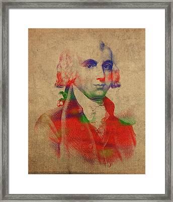 President James Madison Watercolor Portrait Framed Print