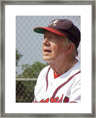 President Jimmy Carter - Atlanta Braves Jersey And Cap Framed Print by Jerry Battle