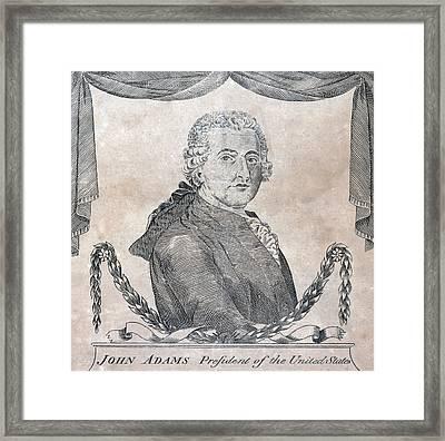 President John Adams, Engraving By Amos Framed Print by Everett
