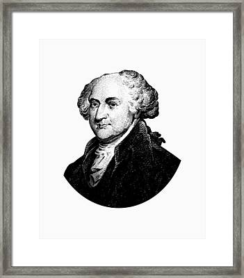 President John Adams Graphic Black And White Framed Print by War Is Hell Store