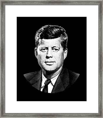 President John F. Kennedy Graphic Black And White  Framed Print